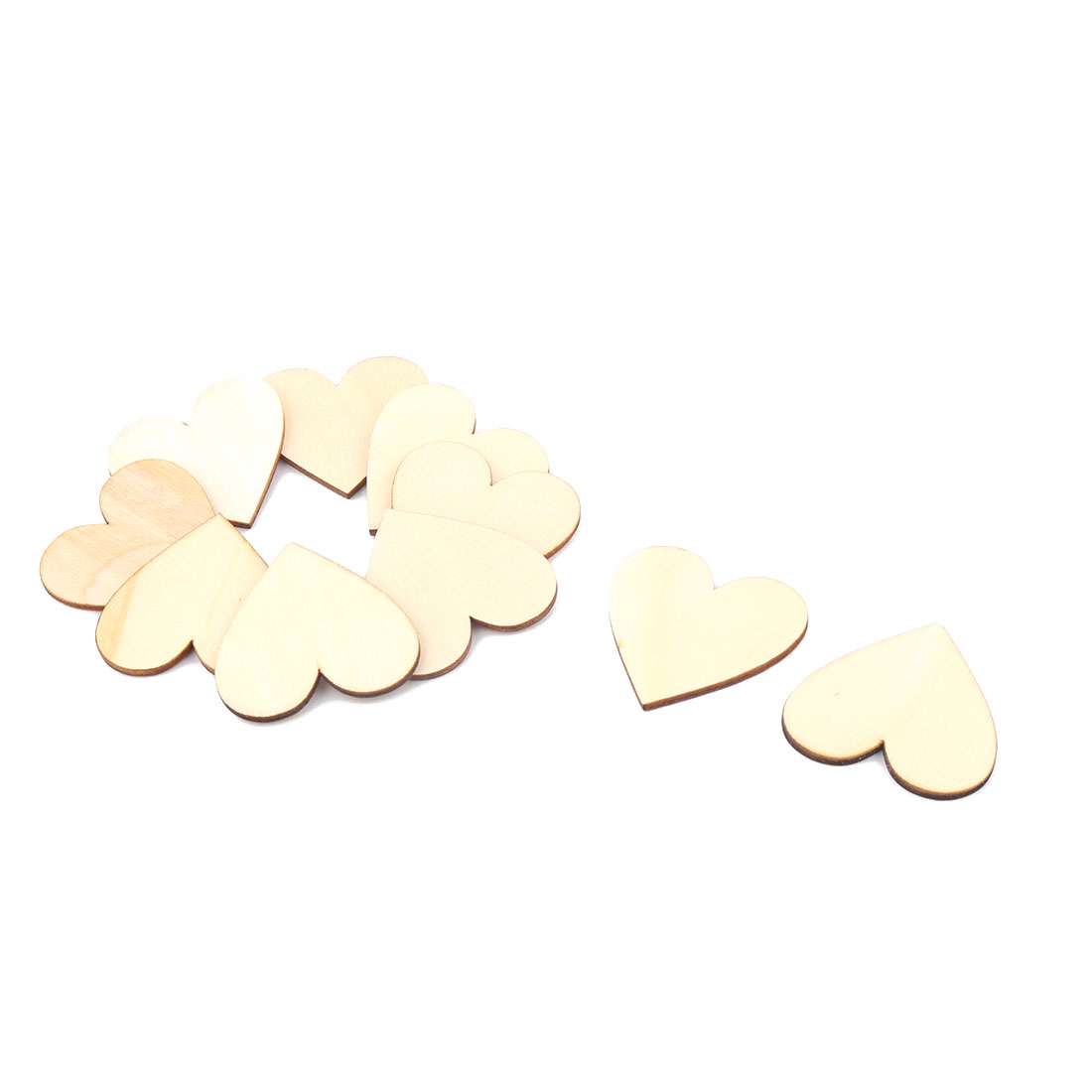Wooden Love Heart Shaped Wedding Decor Art Craft DIY Accessories Beige 50 x 45mm 10 Pcs