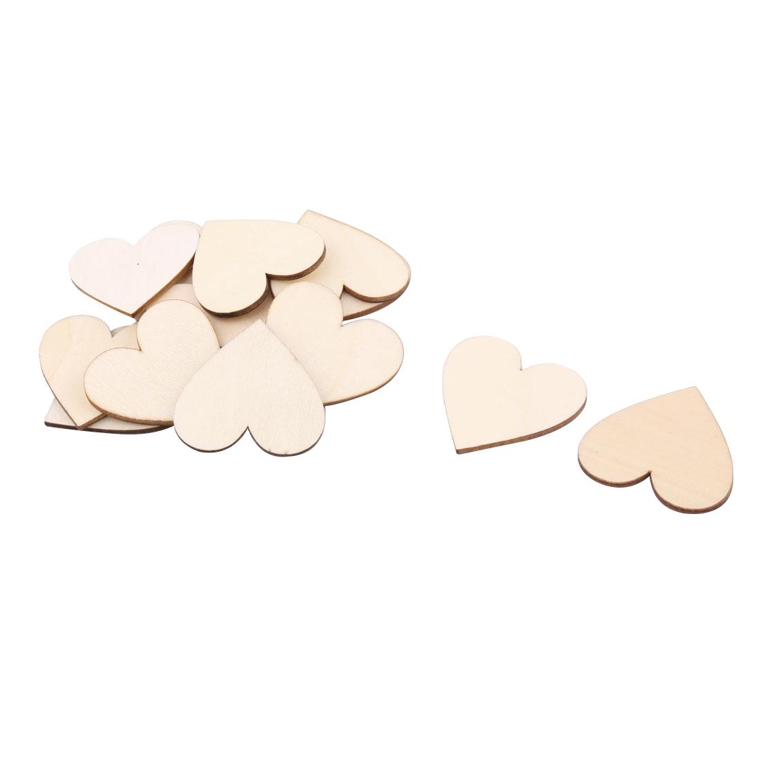 Wooden Love Heart Shaped Wedding Decor Art Craft DIY Accessories Beige 50 x 45mm 15 Pcs