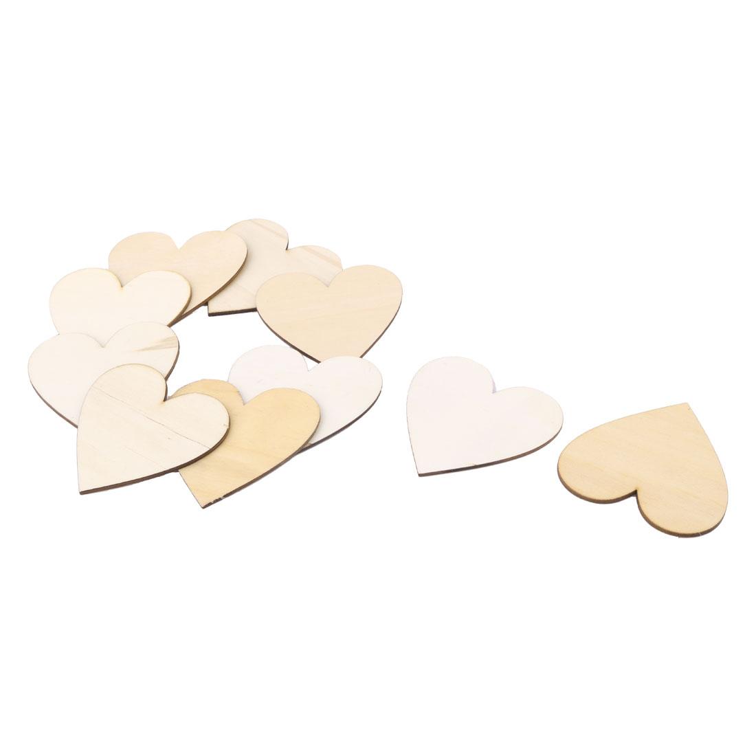 Wooden Love Heart Shaped Wedding Decor Art Craft DIY Accessories Beige 80 x 75mm 10 Pcs
