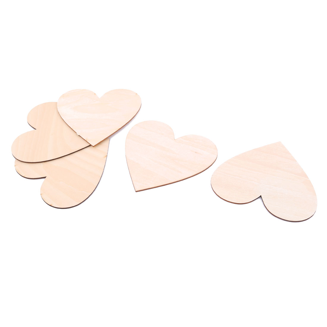 Wooden Love Heart Shaped Wedding Decor DIY Accessories Embellishment Beige 100 x 95mm 5 Pcs