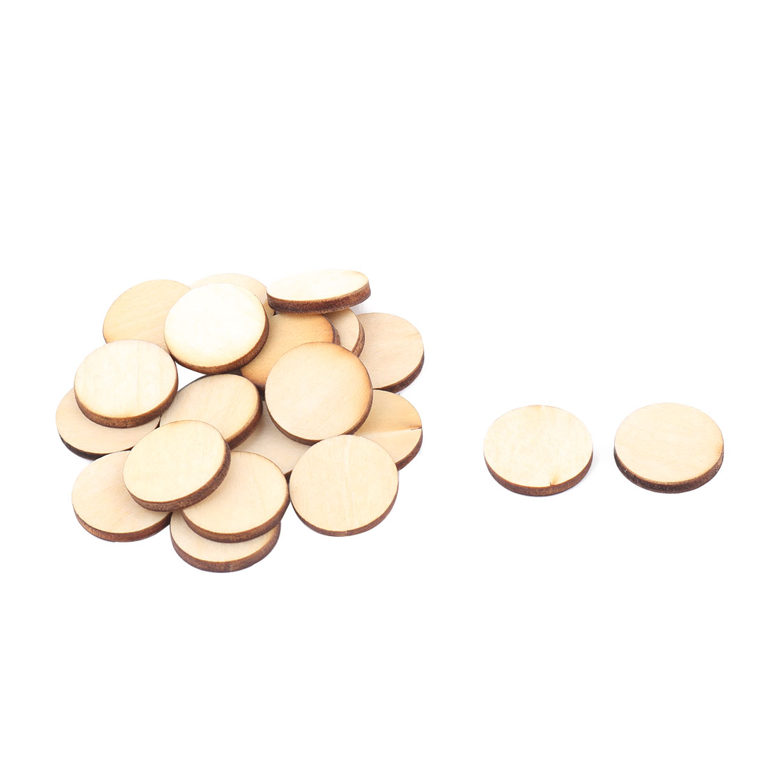 Wooden Slices Round Shape DIY Gift Craft Decor Accessories Embellishment Beige 20mm Dia 20pcs