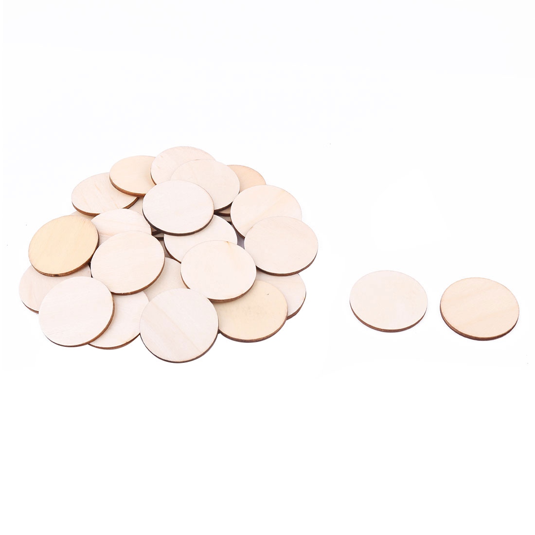 Wooden Slices Round Shape DIY Gift Craft Decor Accessories Embellishment Beige 40mm Dia 30pcs