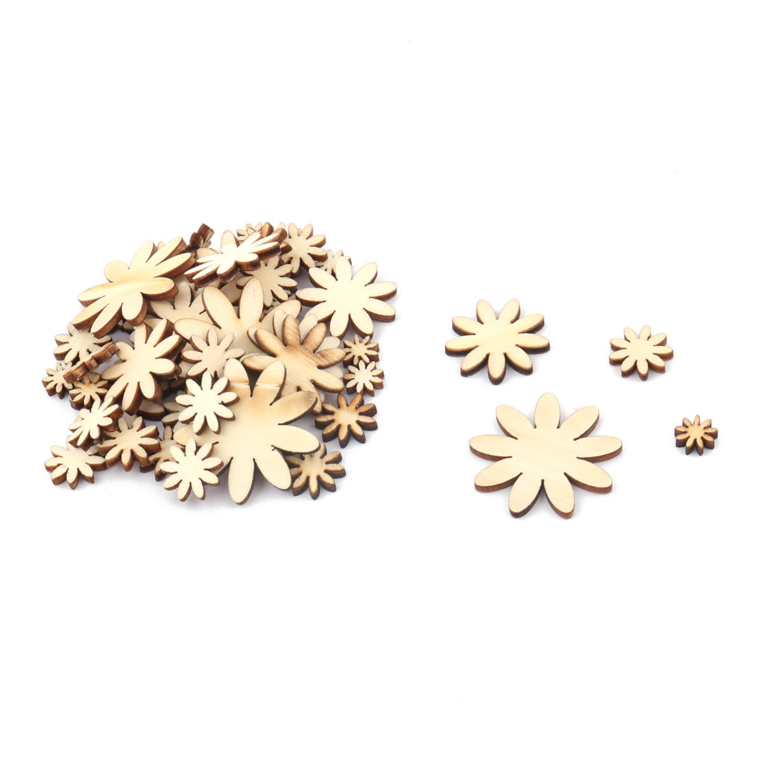 Holiday Wooden Slices Flower Shaped DIY Crafts Scrapbooking Sewing Accessories Beige 50 in 1