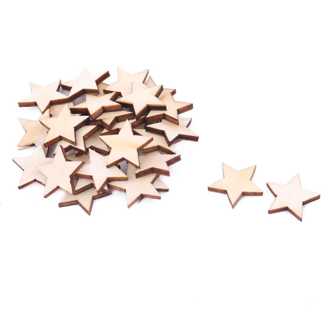 Wooden Star Shaped DIY Craft Christmas Tree Decor Accessories Ornaments Beige 20 x 20mm 30pcs