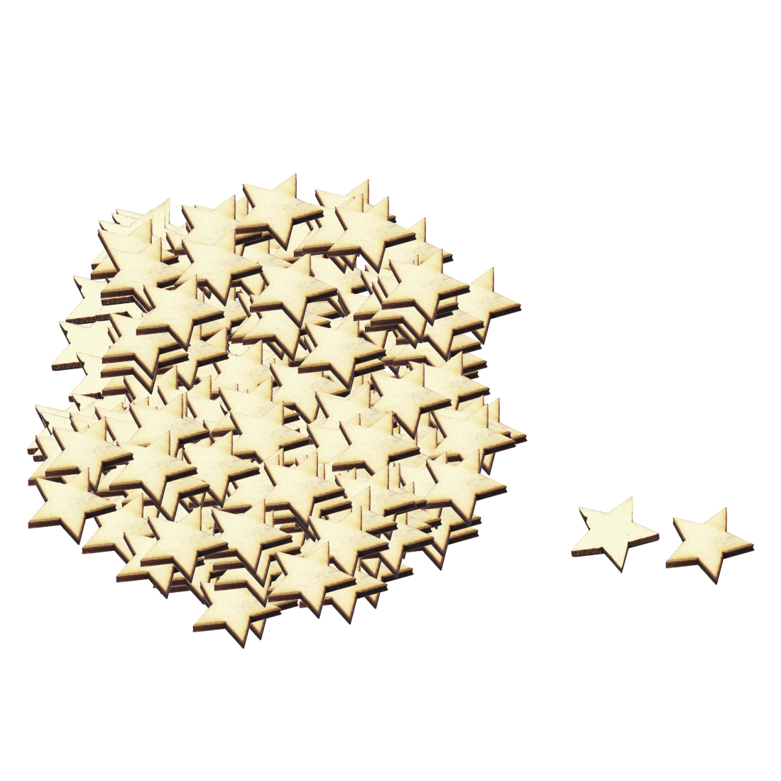 Wooden Star Shaped DIY Craft Christmas Tree Decor Accessories Ornaments Beige 20 x 20mm 100pcs