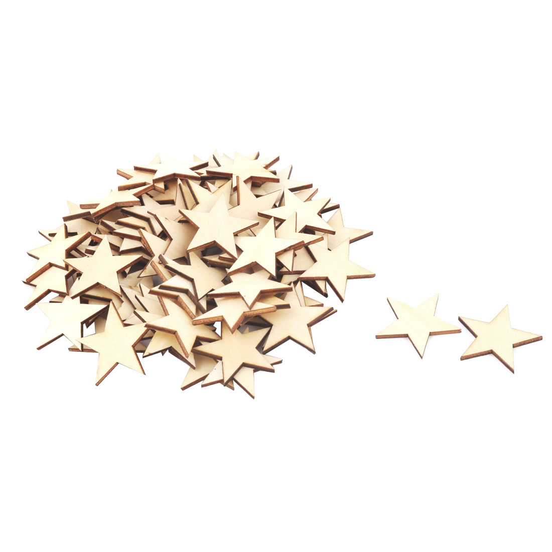 Wooden Star Shaped DIY Craft Christmas Tree Decor Accessories Ornaments Beige 40 x 40mm 75pcs