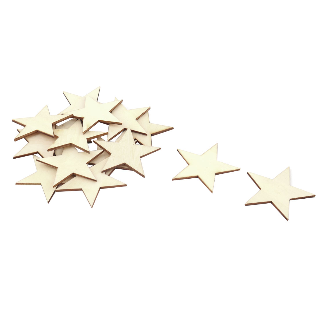 Wooden Star Shaped DIY Craft Christmas Tree Accessories Ornaments Beige 60 x 60mm 15pcs