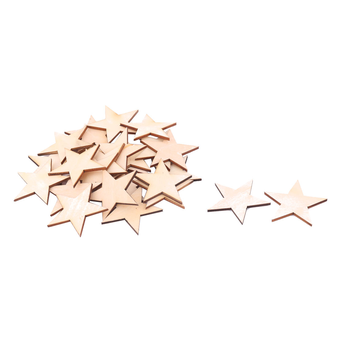 Wooden Star Shaped DIY Craft Christmas Tree Accessories Ornaments Beige 60 x 60mm 25pcs