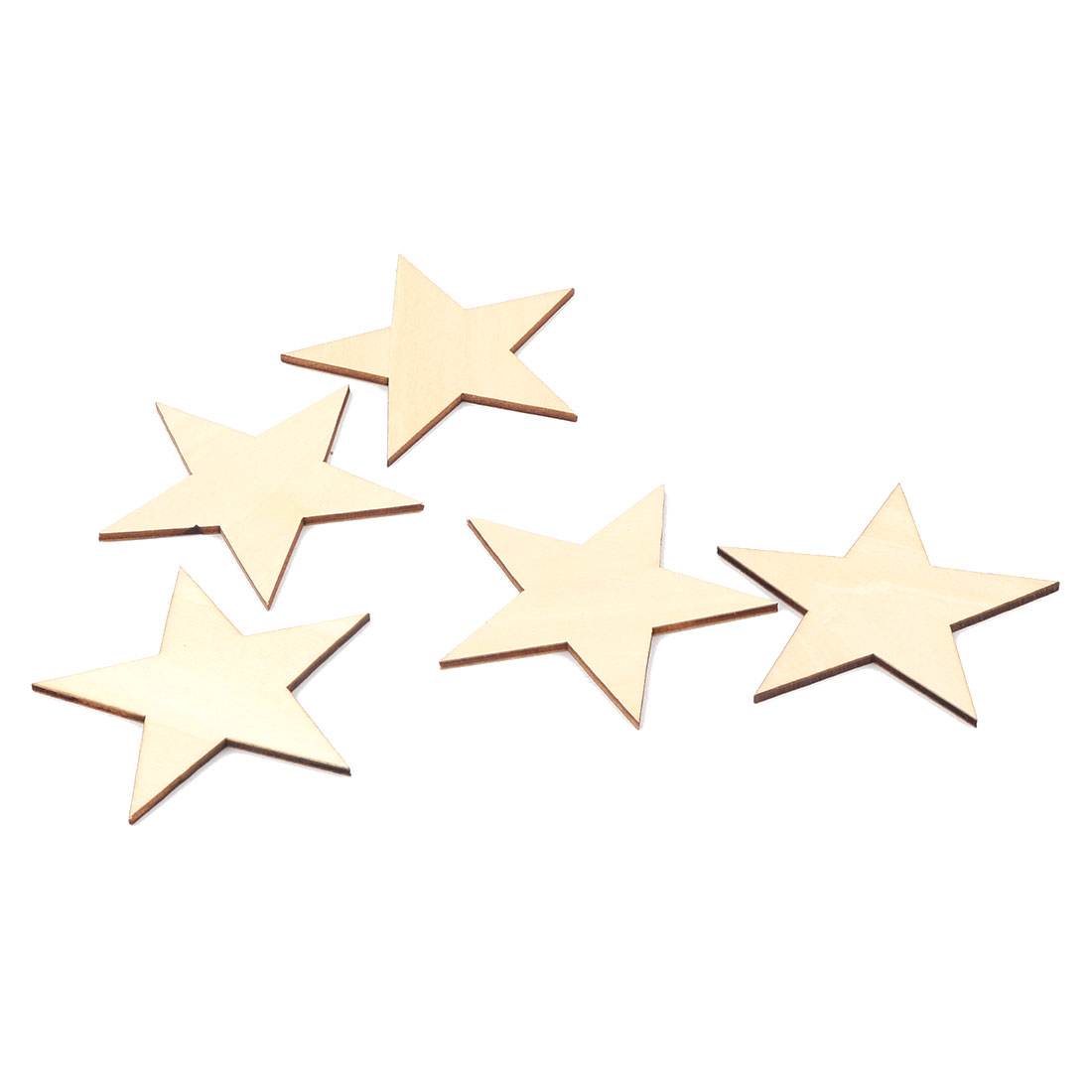 Wooden Star Shaped DIY Craft Christmas Tree Decor Accessories Ornaments Beige 80 x 80mm 5 Pcs
