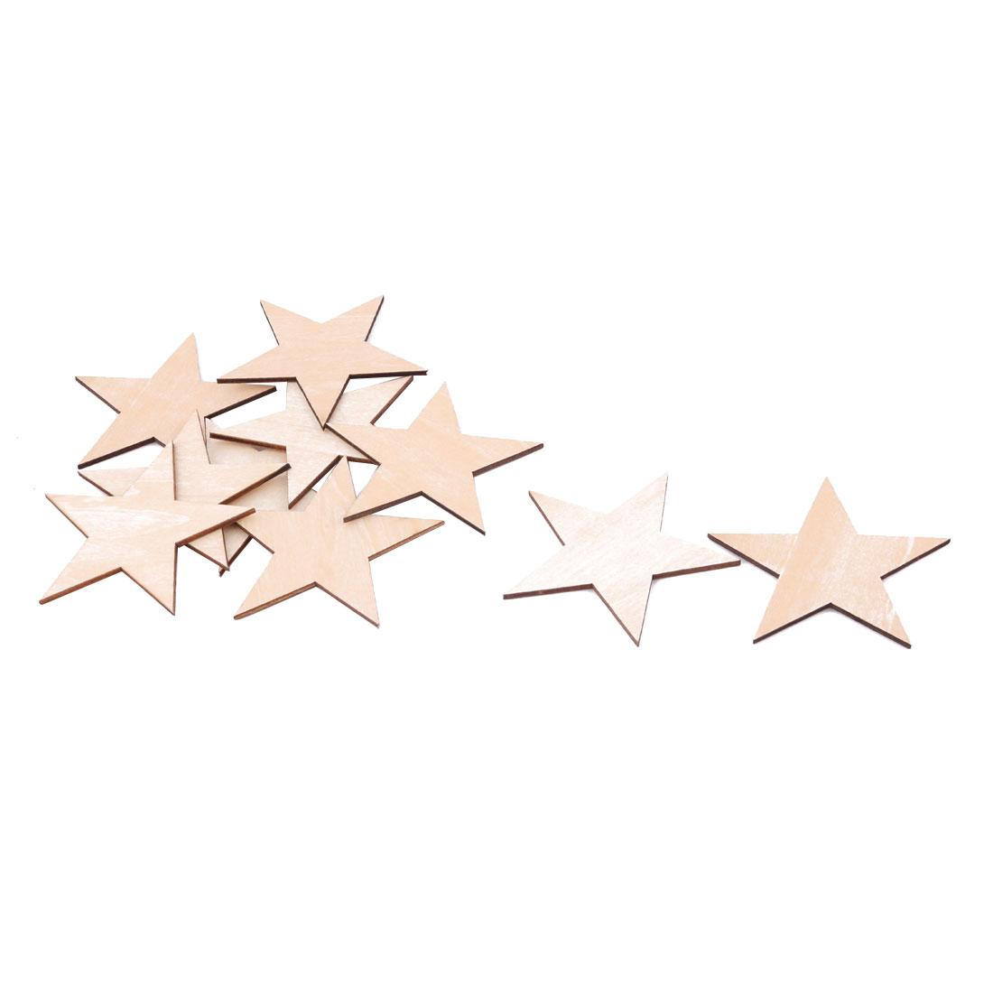 Wooden Star Shaped DIY Craft Christmas Tree Accessories Ornaments Beige 80 x 80mm 10pcs