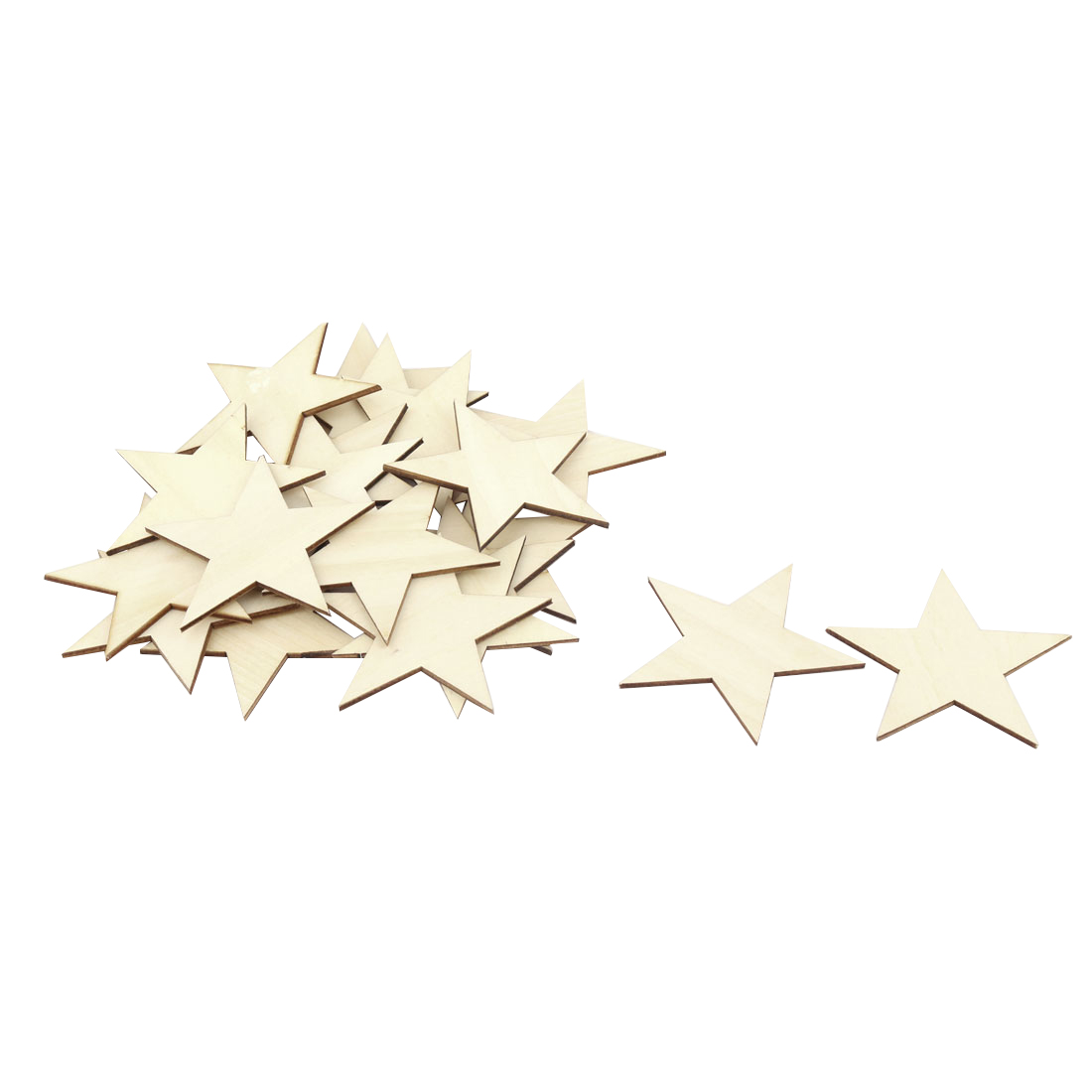 Wooden Star Shaped DIY Craft Christmas Tree Accessories Ornaments Beige 80 x 80mm 20pcs