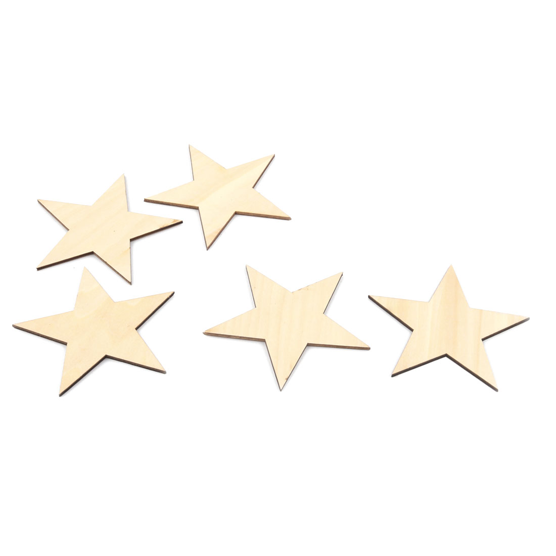 Wooden Star Shaped DIY Craft Christmas Tree Decor Accessories Ornaments Beige 100 x 100mm 5 Pcs