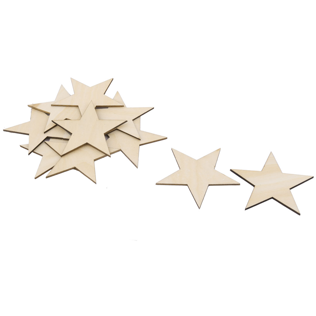 Wooden Star Shaped DIY Craft Christmas Tree Accessories Ornaments Beige 100 x 100mm 10pcs