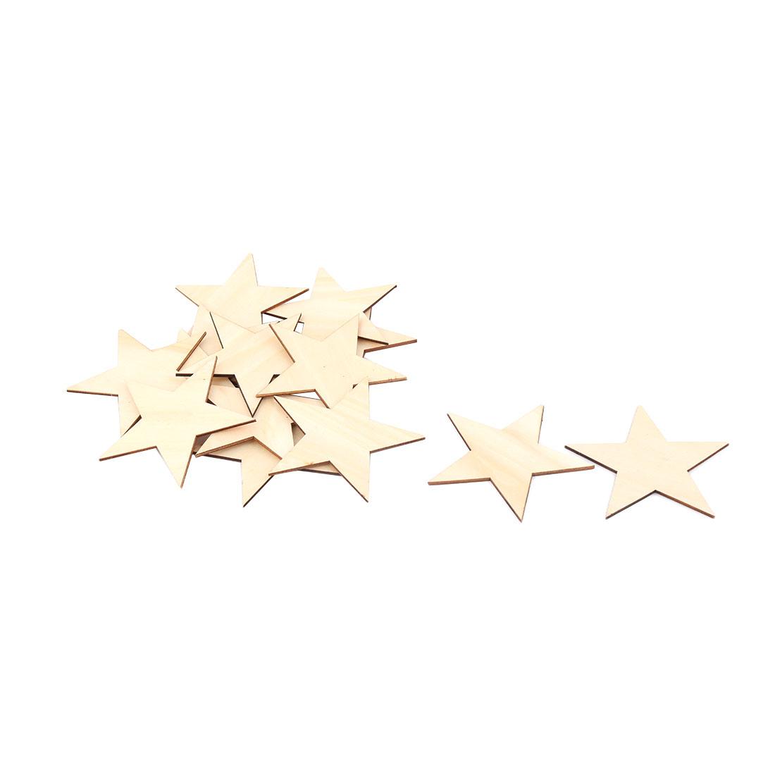 Wooden Star Shaped DIY Craft Christmas Tree Accessories Ornaments Beige 100 x 100mm 15pcs