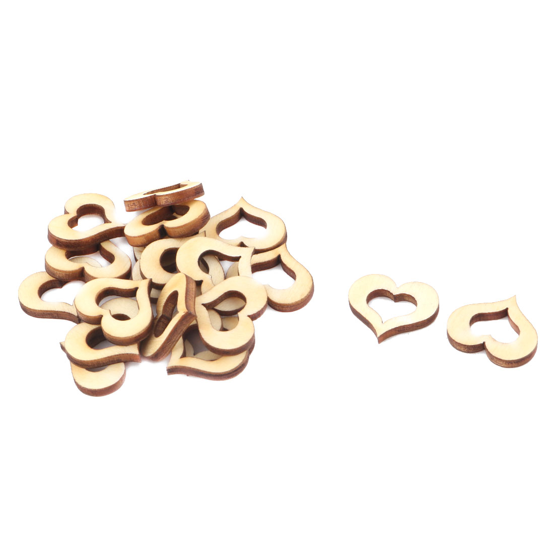 Wooden Love Heart Shaped Hollow Design Wedding Decor Art Craft DIY Accessories Beige 20 x 15mm 20pcs