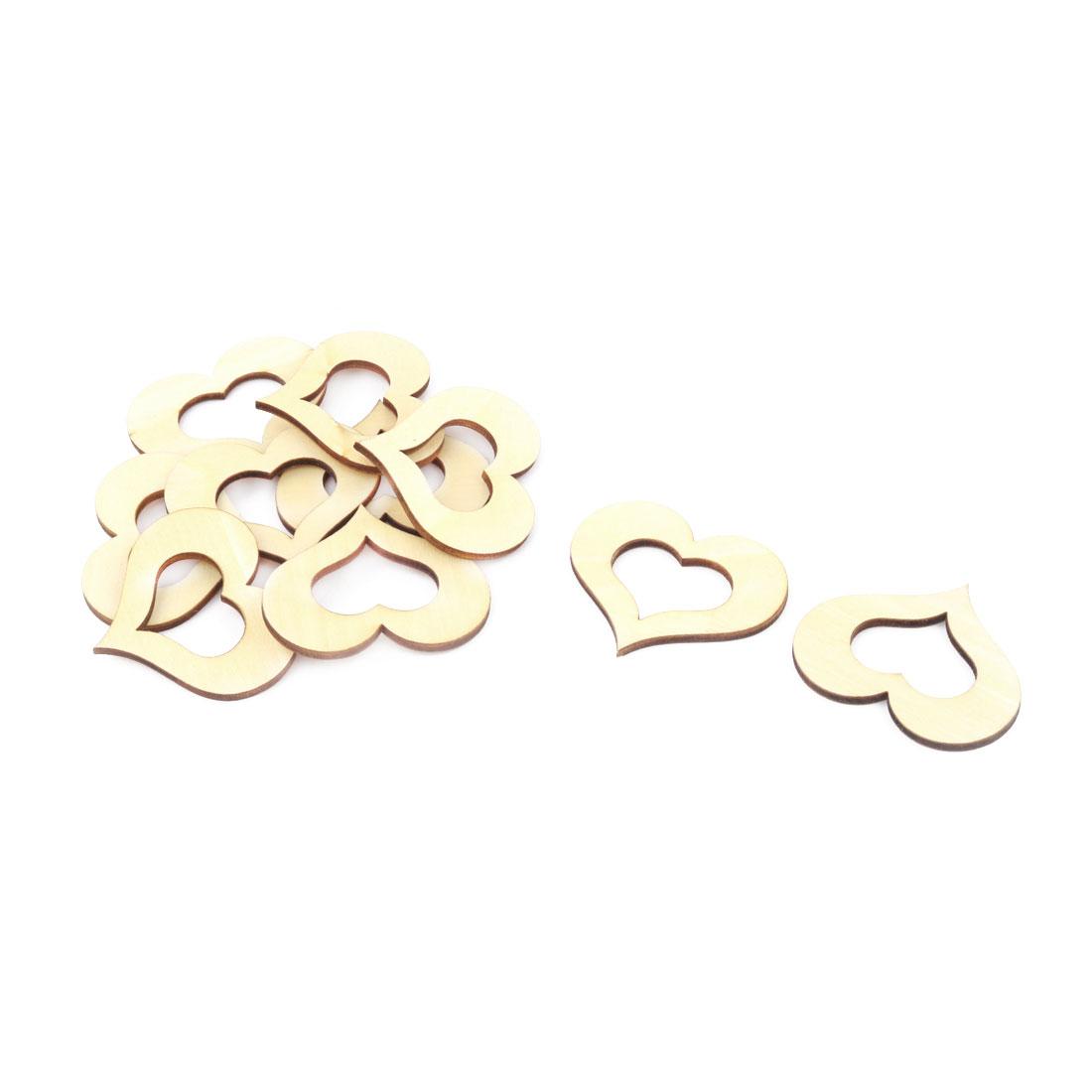 Wooden Love Heart Shaped Hollow Design Wedding Decor DIY Accessories Beige 45 x 40mm 10pcs