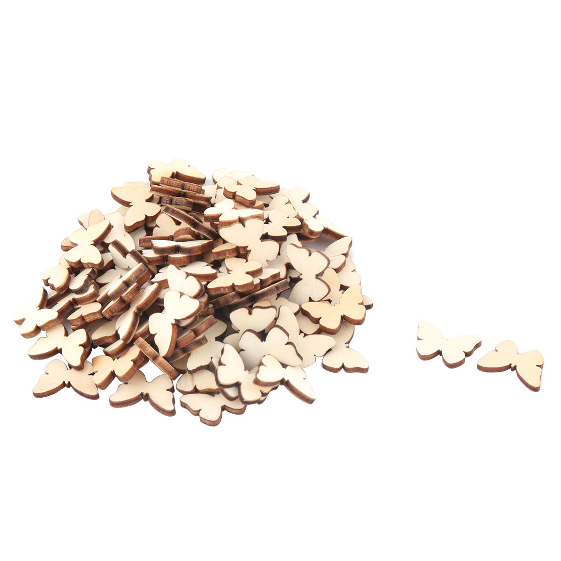 Wooden Slices Butterfly Shaped Wedding Decor DIY Craft Accessories Embellishment Beige 100pcs