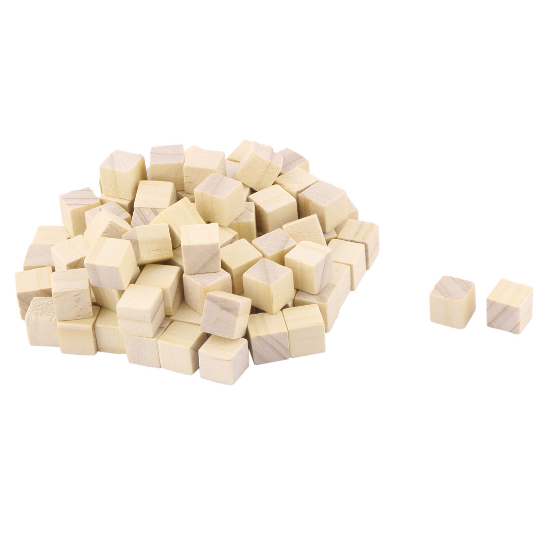 Wooden Art Crafts DIY Scrapbooking Embellishment Block Beige 10 x 10 x 10mm 100pcs