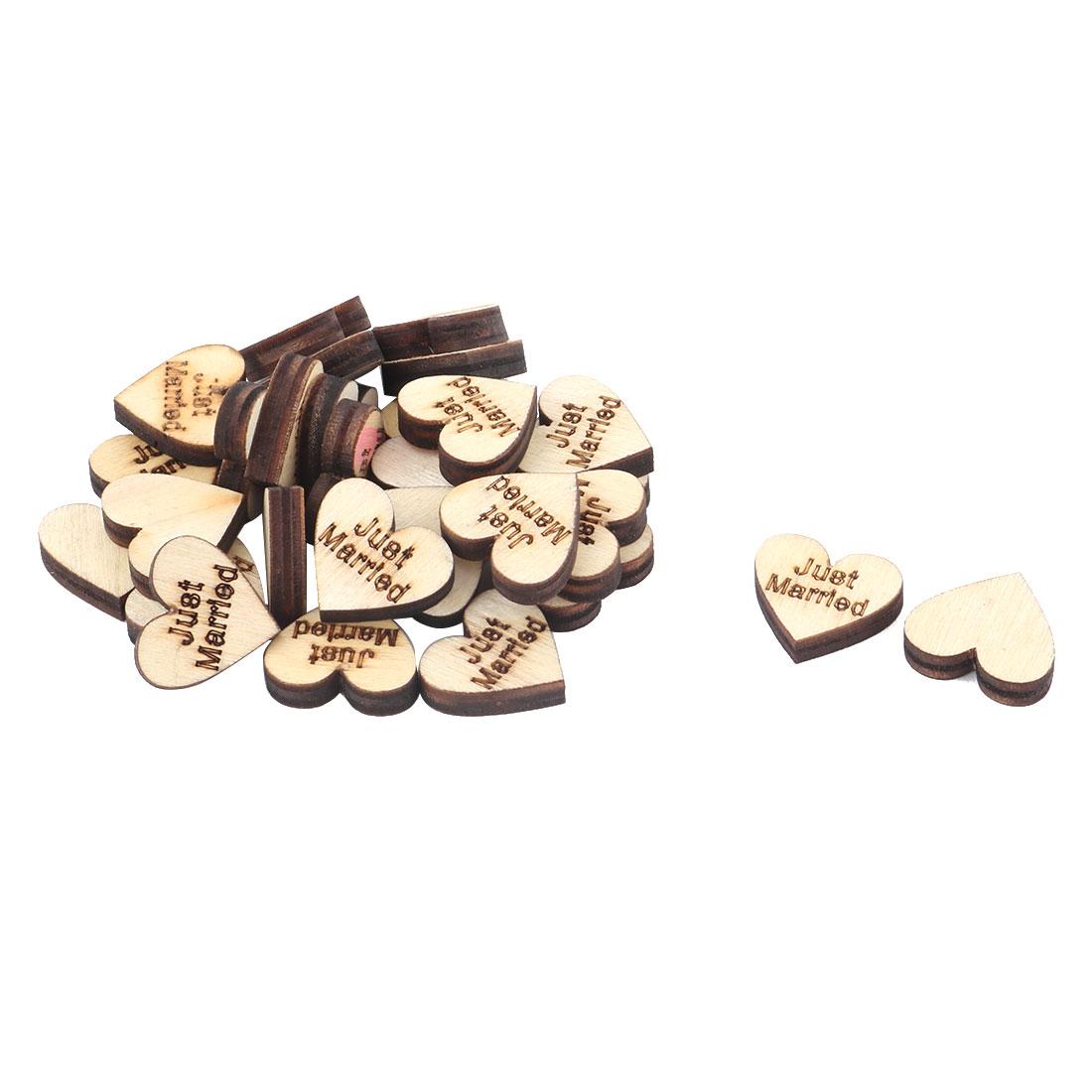 Wooden Slices Heart Shape DIY Crafts Wedding Table Decor Accessories Embellishment 30 Pcs