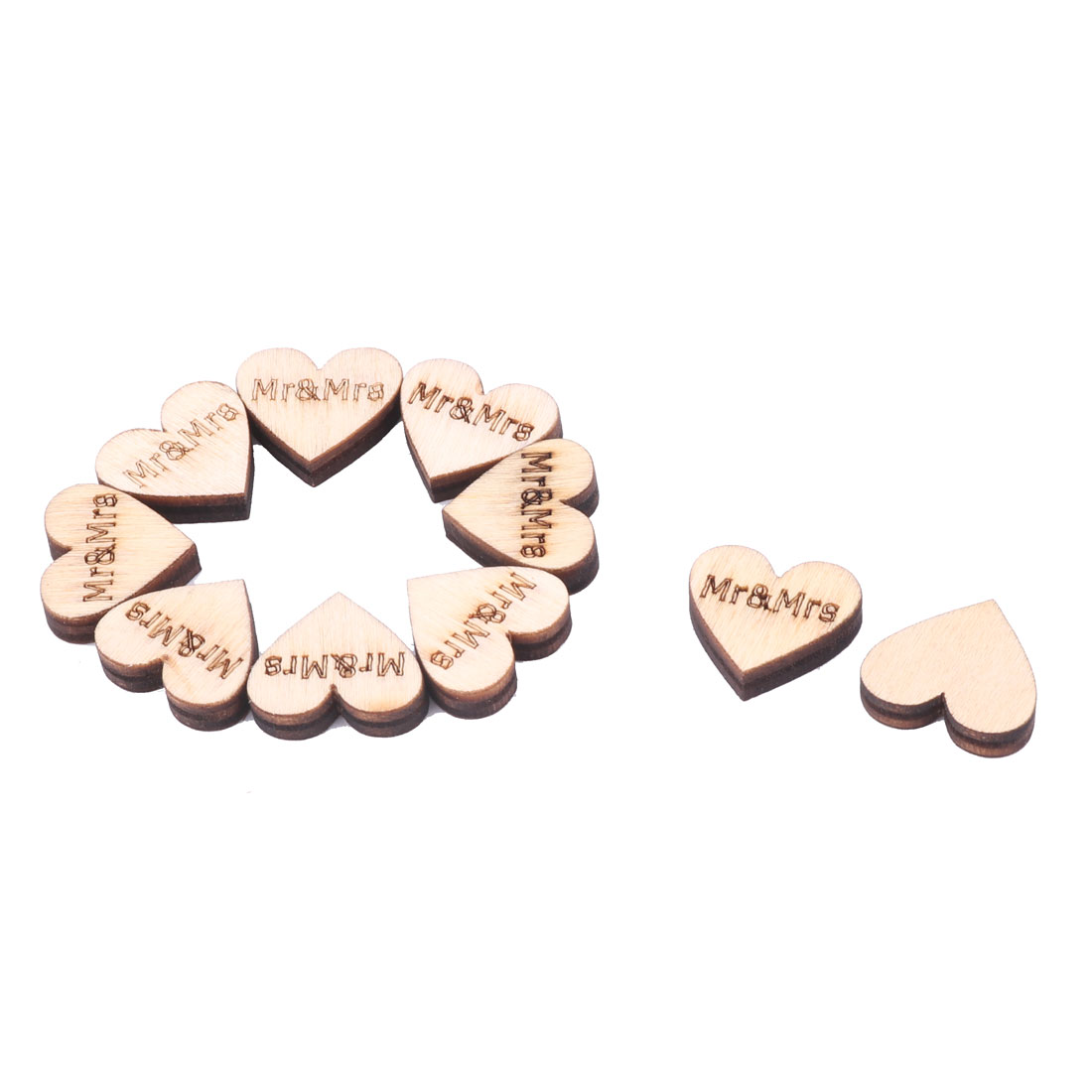 Wooden Heart Shape DIY Crafts Wedding Table Decor Accessories Embellishment 10 Pcs