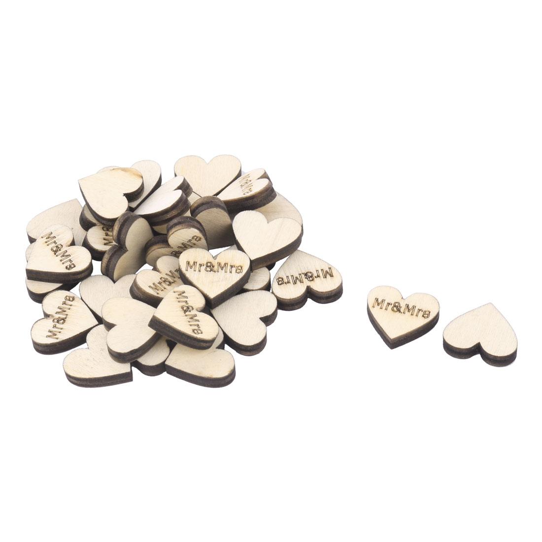 Wooden Heart Shape DIY Crafts Wedding Table Decor Accessories Embellishment 30 Pcs