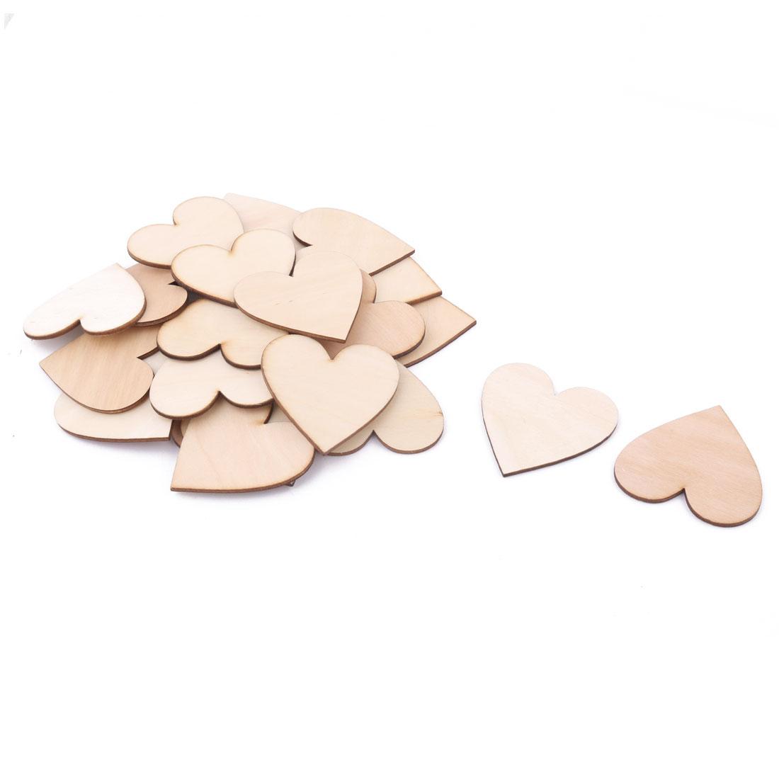 Wooden Love Heart Shaped Wedding Decor Art Craft DIY Accessories Embellishment Beige 60 x 55mm 25 Pcs