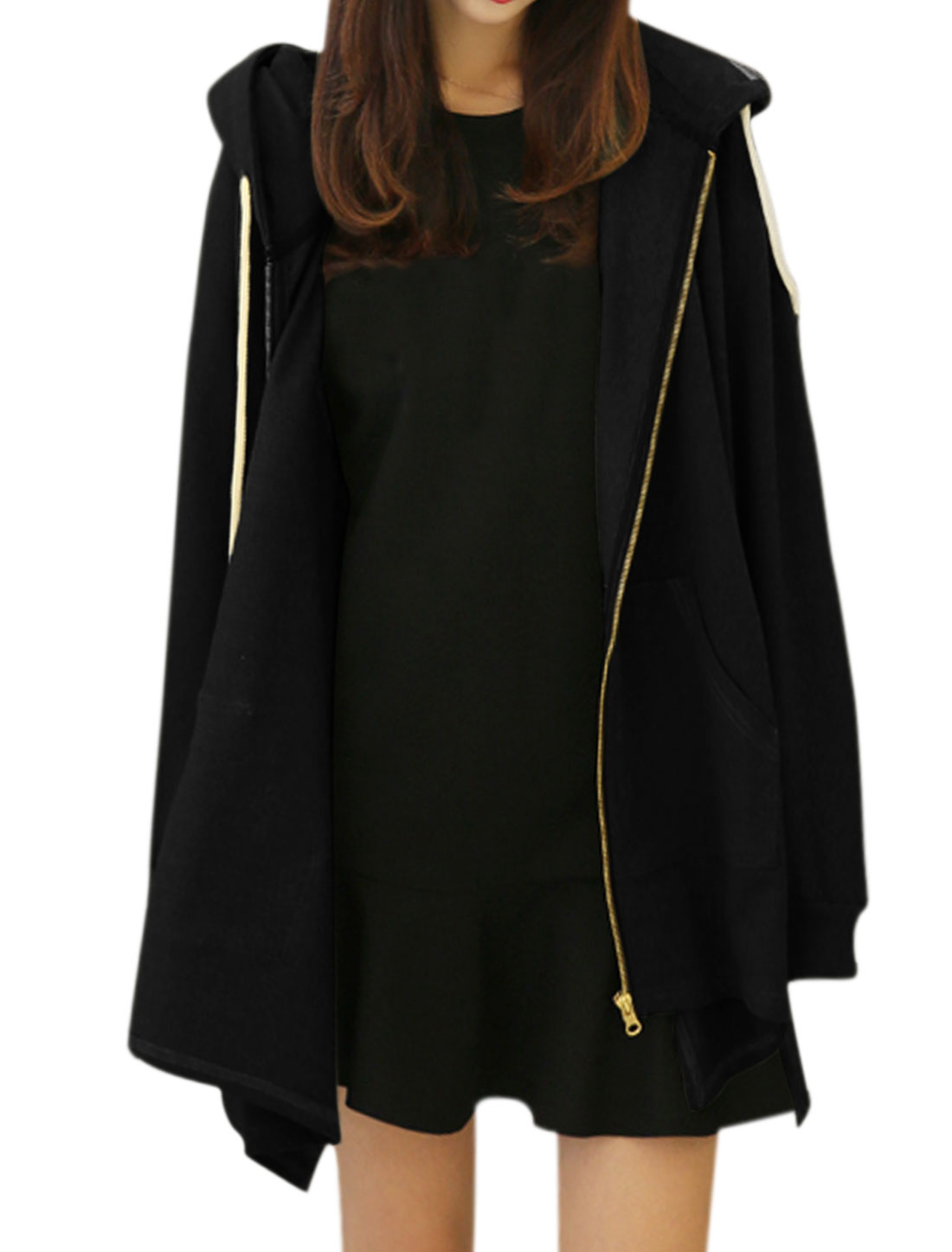 Women Long Sleeves Asymmetric Hem Drawstring Hooded Tunic Jacket Black XS