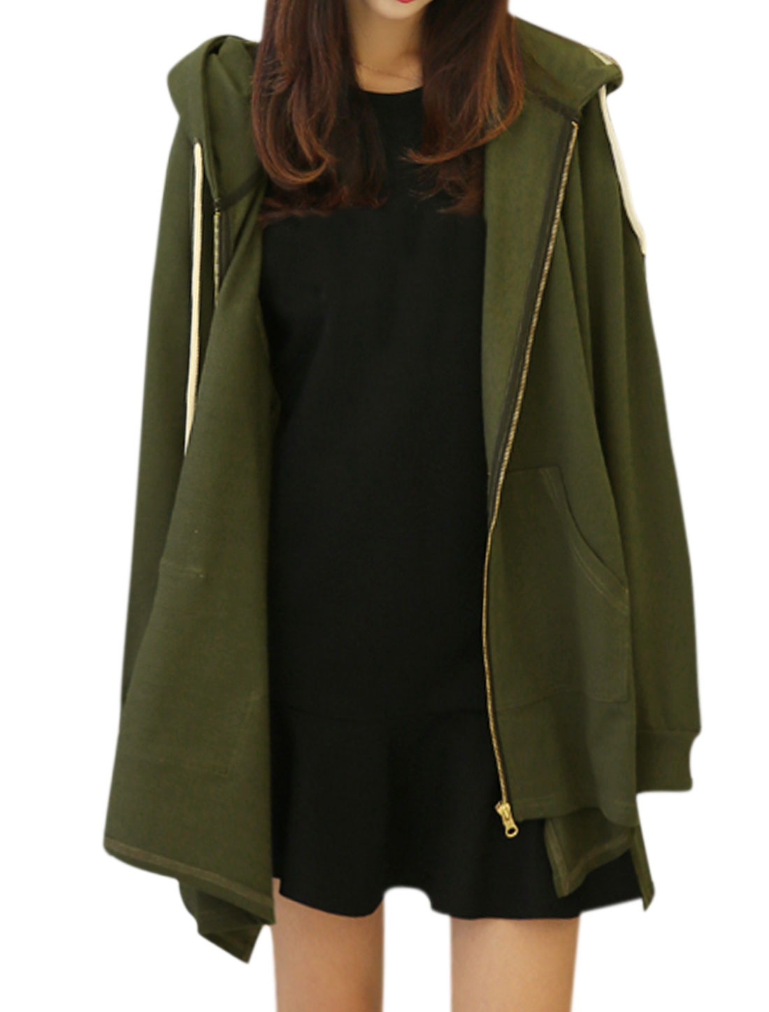 Women Long Sleeves Asymmetric Hem Drawstring Hooded Tunic Jacket Green XS
