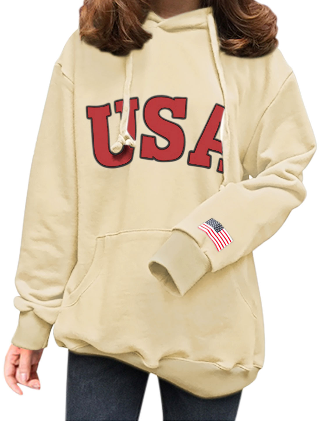 Women Letters Flag Kangaroo Pocket Drawstring Hooded Sweatshirt Beige XS