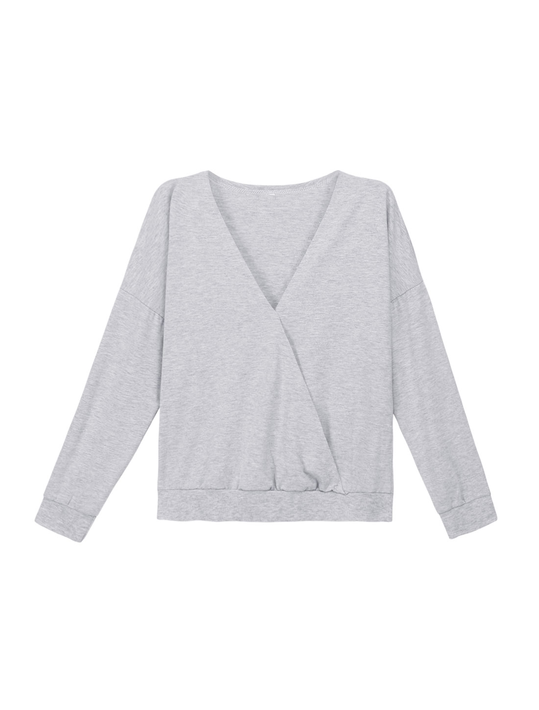 Women Deep V Neck Long Sleeves Crossover Front Loose Top Gray XS