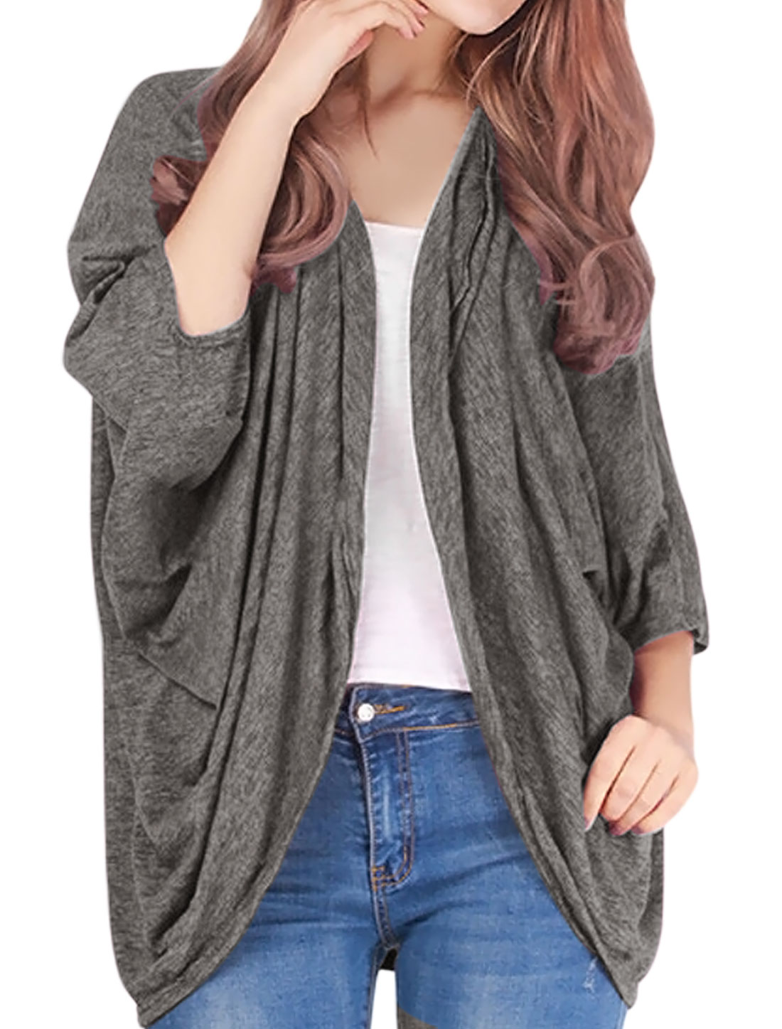Women 3/4 Batwing Sleeves Space Dye Pleated Front Tunic Cardigan Gray XS