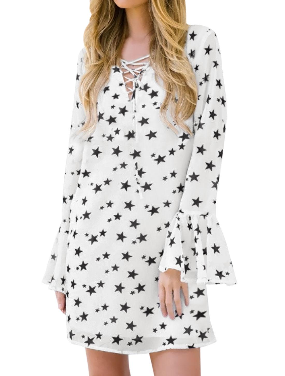 Women Lace Up Long Sleeves Stars Pattern Bell Cuffs Tunic Dress White S