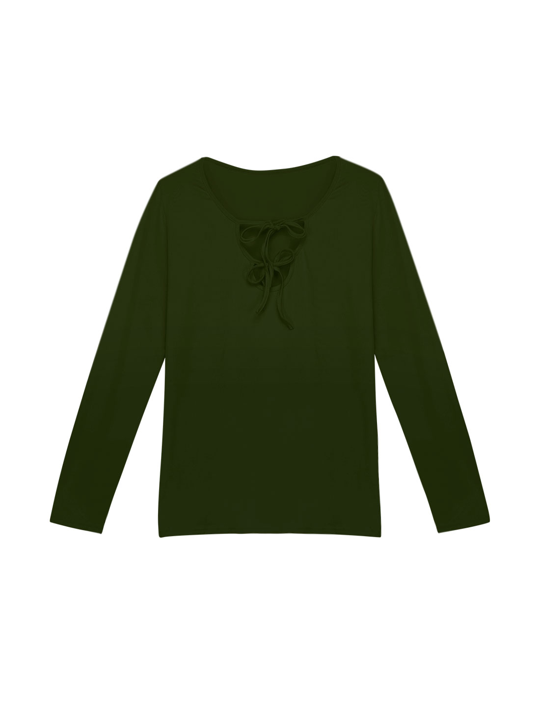 Women Long Sleeves Self Tie Cut Out Front Slim Fit Tee Green L