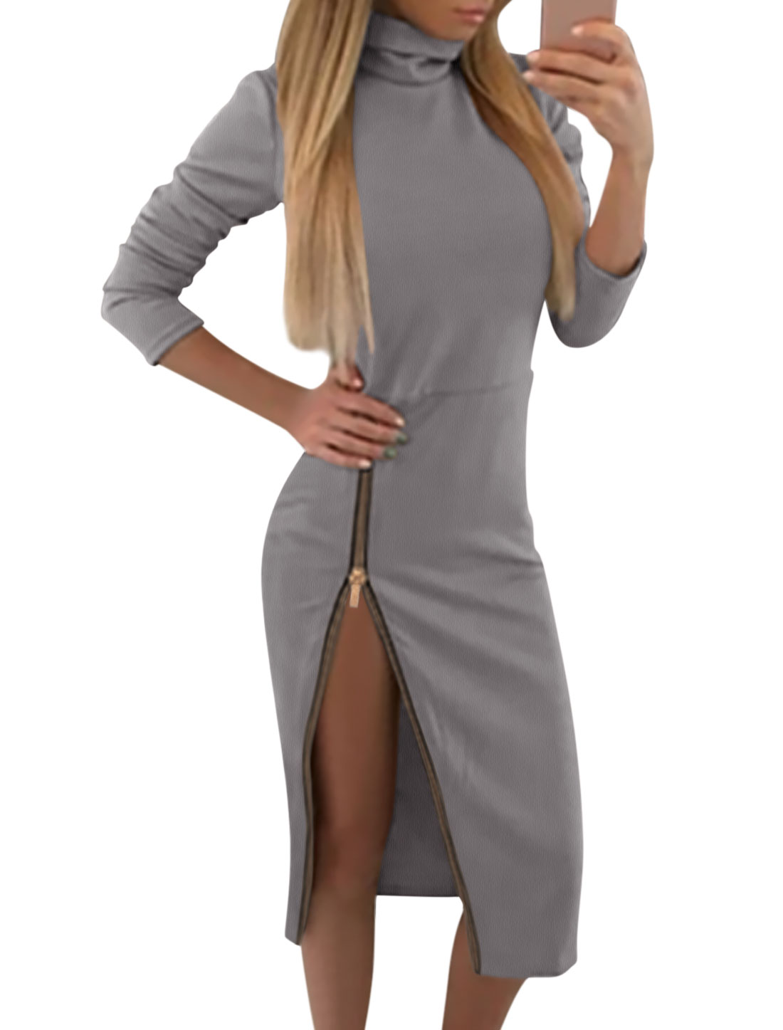 Women Turtle Neck 3/4 Sleeves Exposed Side Zipper Midi Dress Gray M