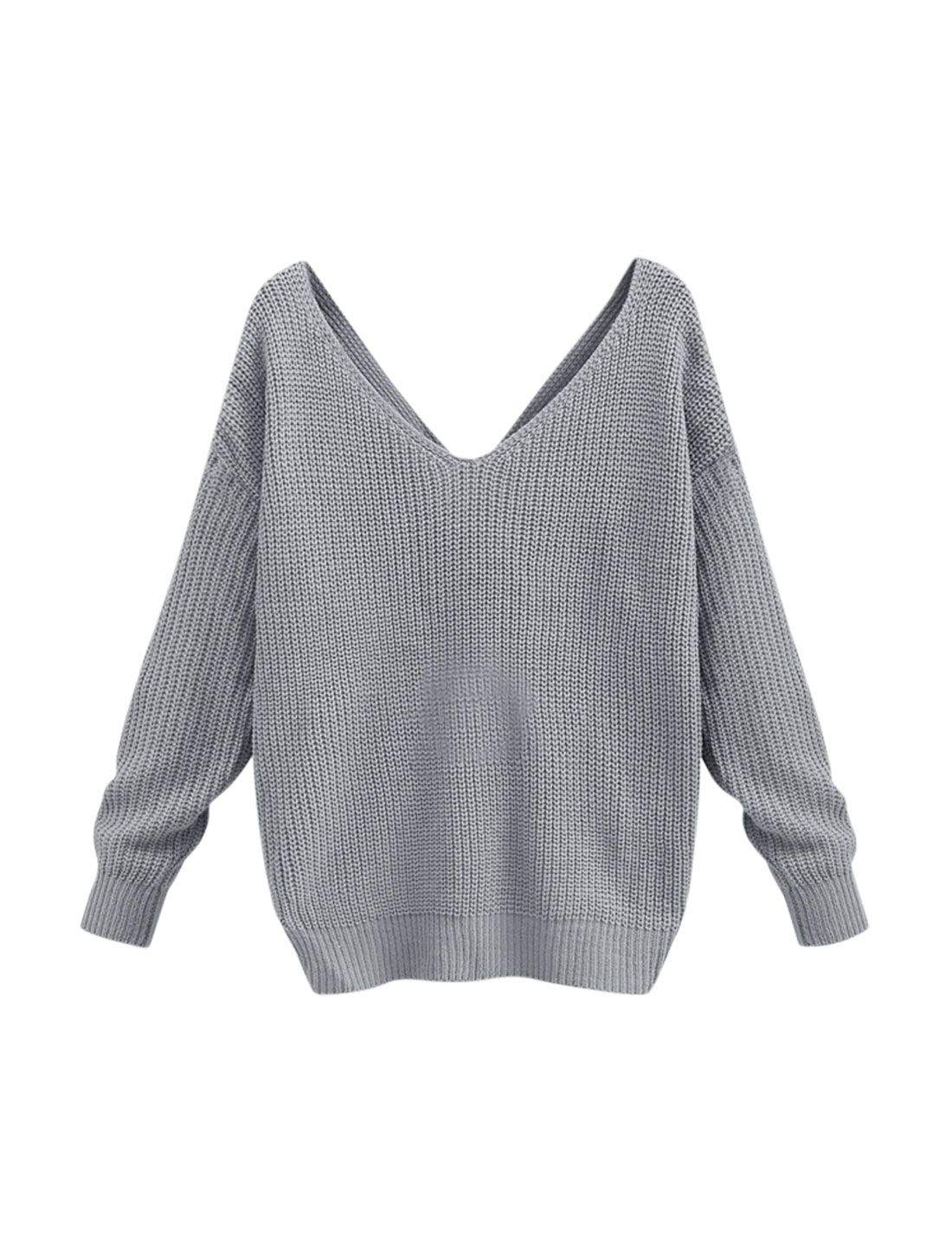 Women V Neck Long Batwing Sleeves Twist Back Sweater Gray XS