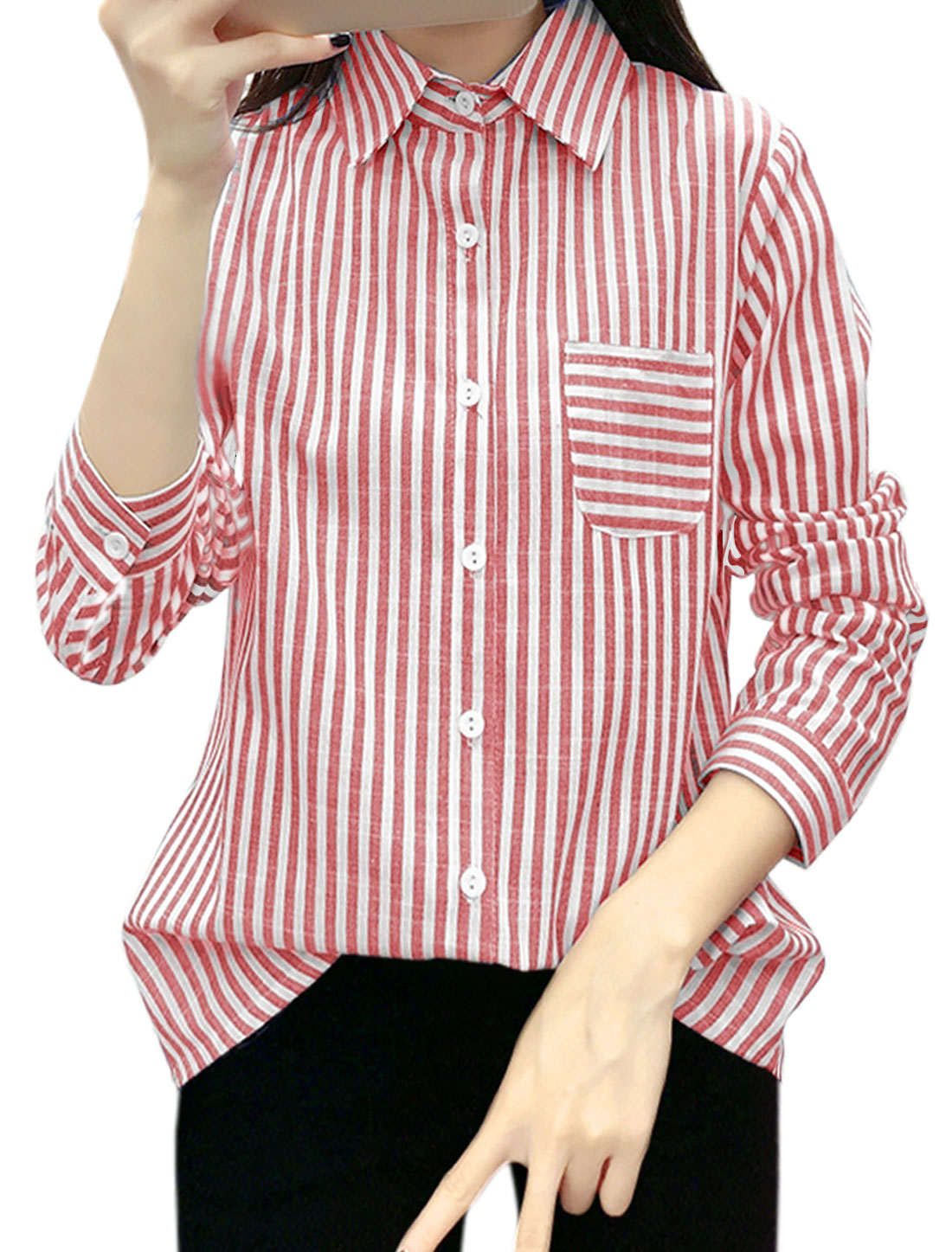Women Stripes Single Breasted Long Sleeves Slim Fit Shirt Red XS