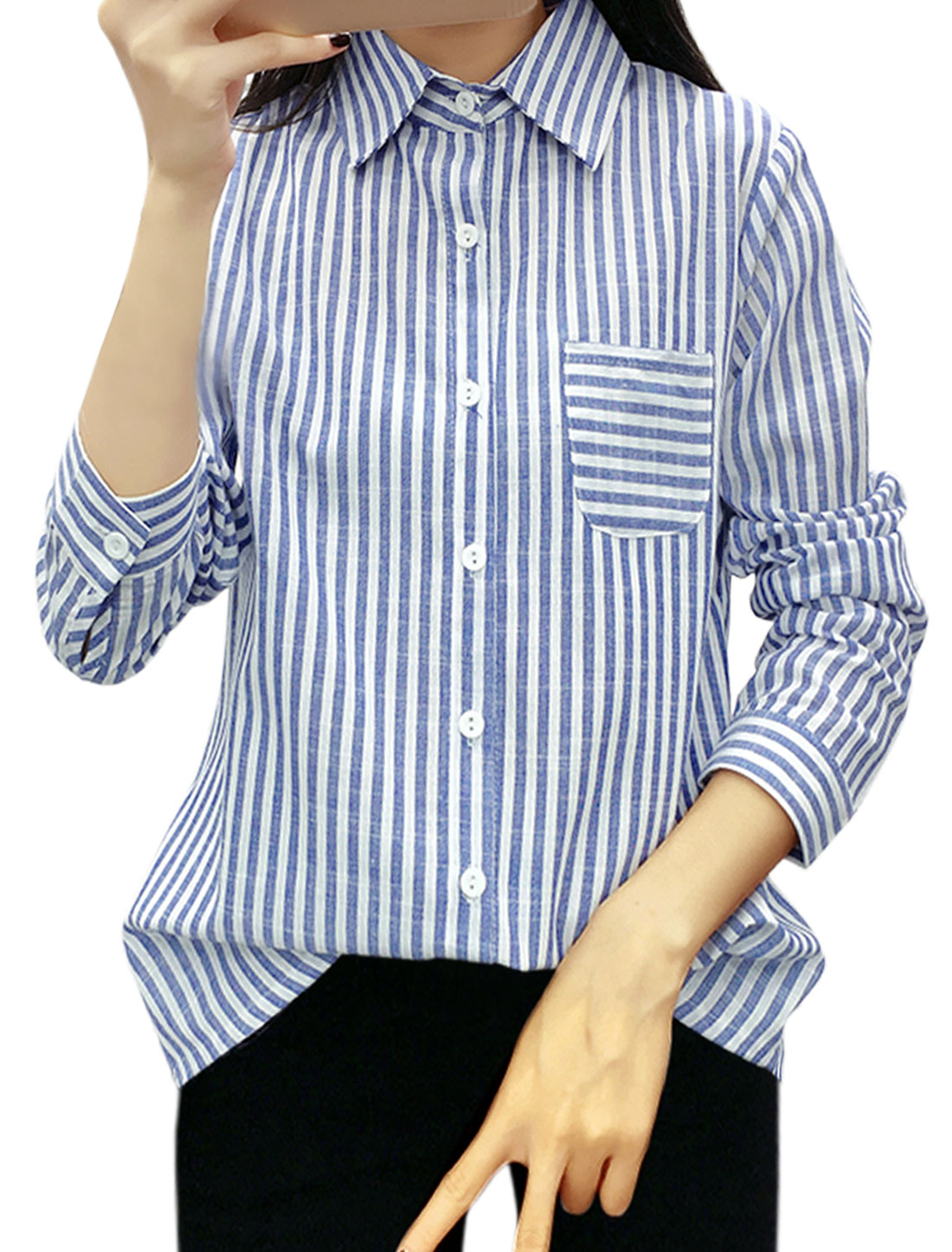 Women Stripes Single Breasted Long Sleeves Slim Fit Shirt Blue XS