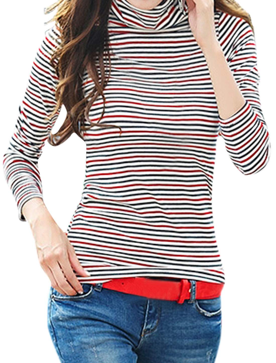 Women Turtle Neck Long Sleeves Stripes Slim Fit Top Red S