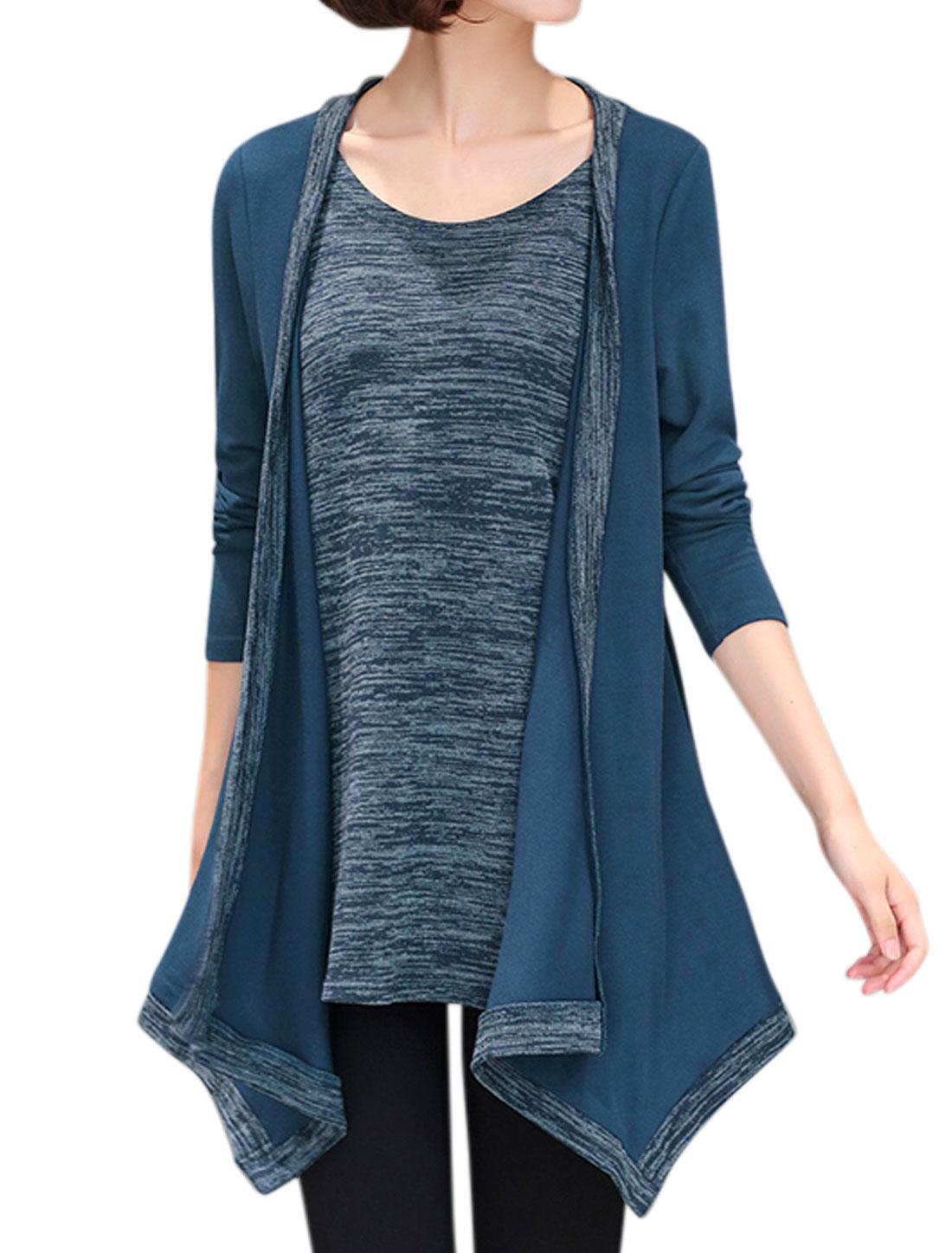 Women Long Sleeves Space Dye Asymmetric Hem Tunic Layered Top Blue S