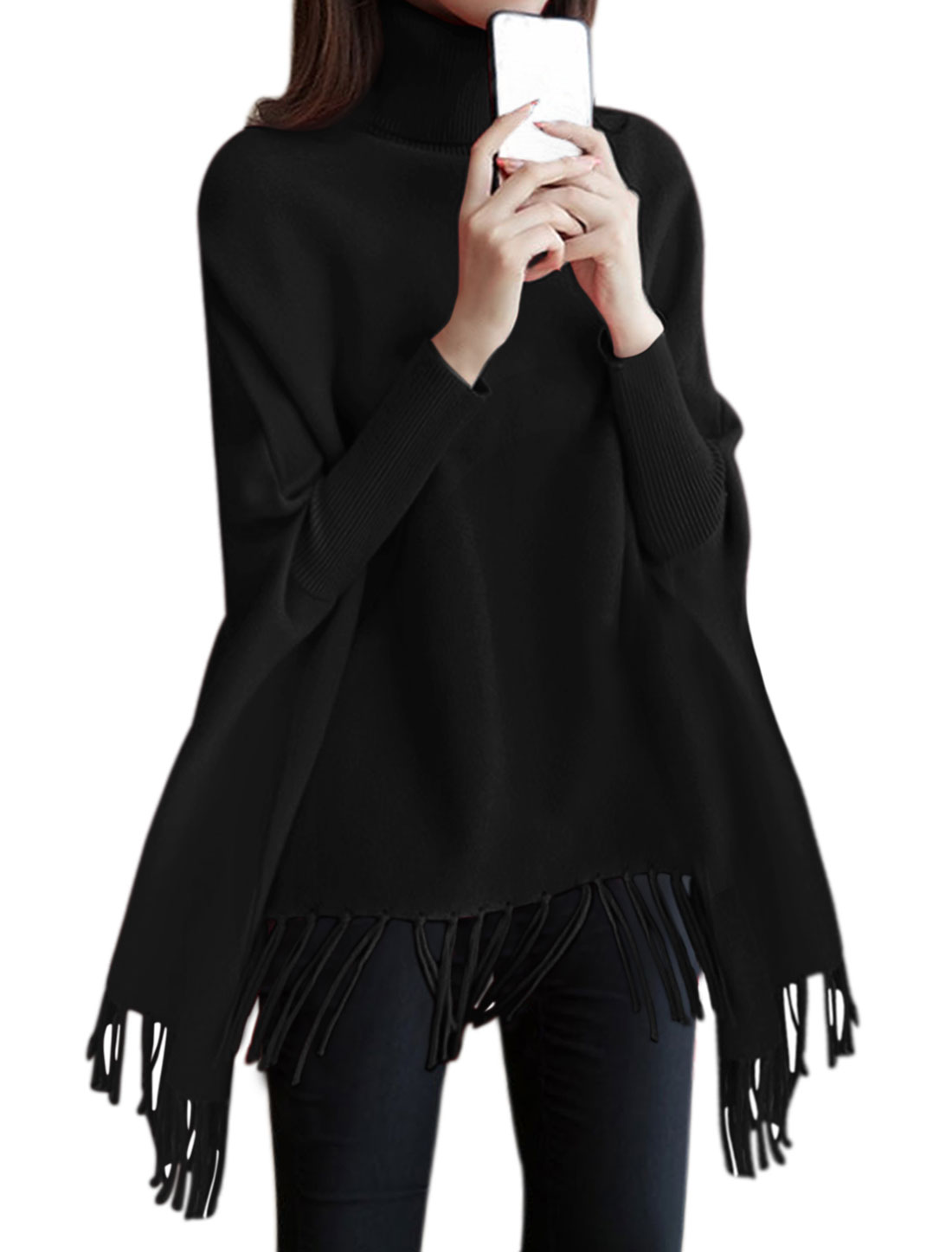 Women Turtle Neck Dolman Sleeves Tassels Hem Loose Tunic Knit Top Black S