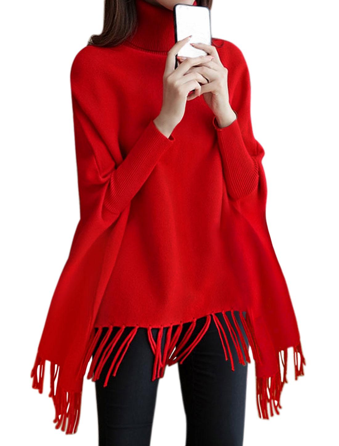 Women Turtle Neck Dolman Sleeves Tassels Hem Loose Tunic Knit Top Red S