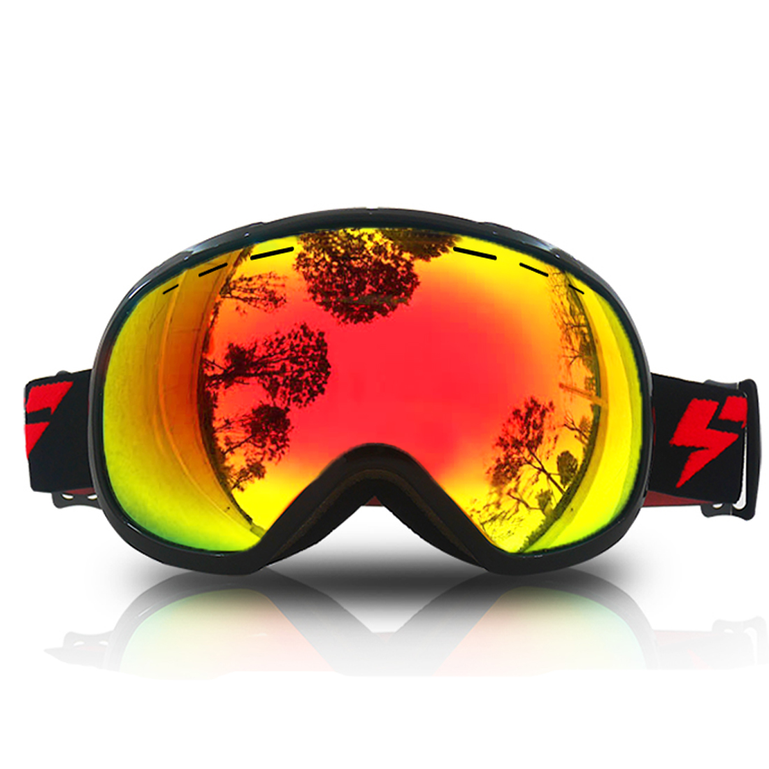 LY-100 Authorized Ski Snowboard Goggles Anti-fog UV400 Protect OTG Double Lens Anti-slip Strap Black