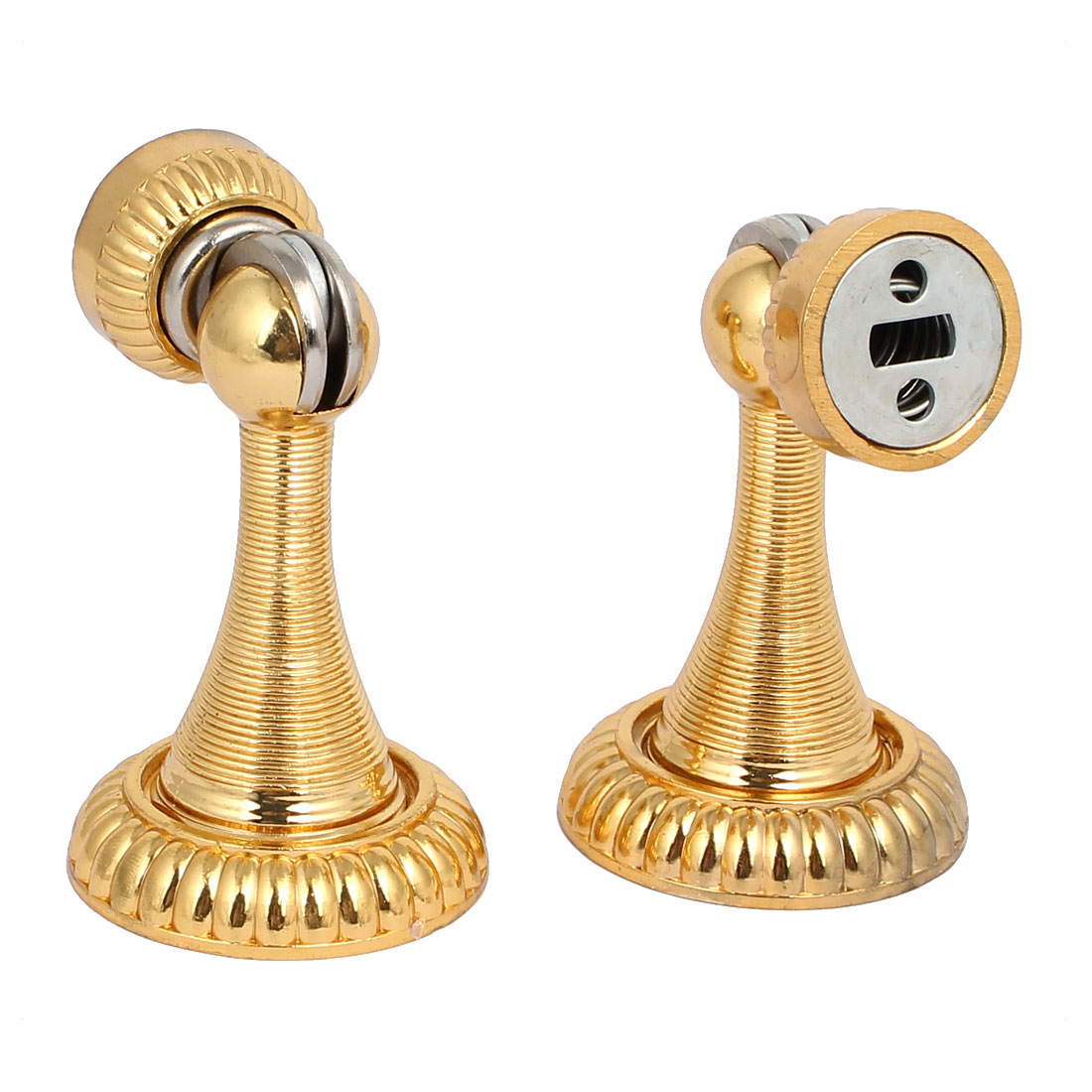Home Office Metal Door Stopper Holder Magnetic Catches Gold Tone 53mmx85mm 2pcs