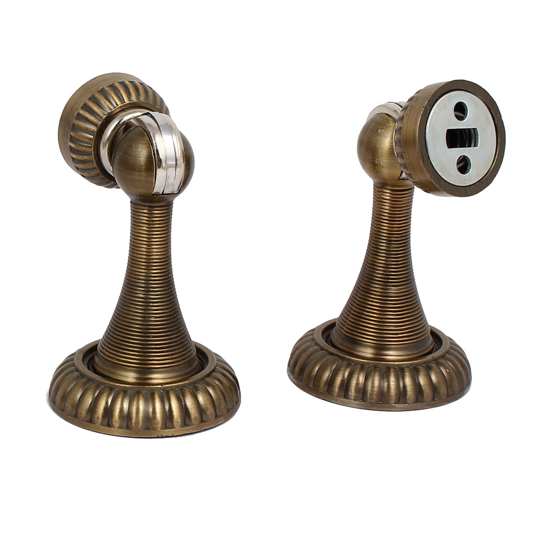 Kitchen Bathroom Door Stopper Holder Magnetic Catches Bronze Tone 53mmx85mm 2pcs