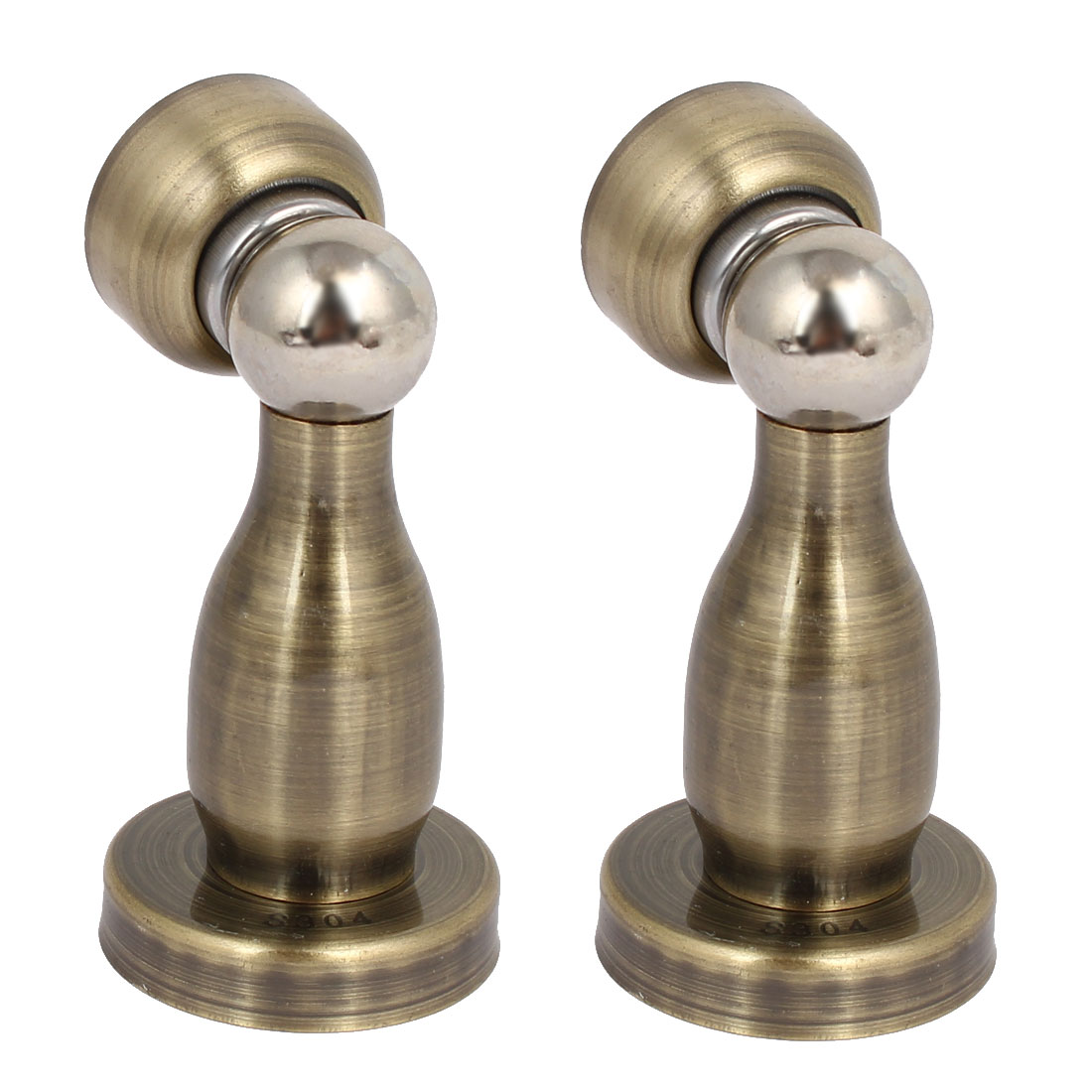 Kitchen Bathroom Door Stopper Holder Magnetic Catches Bronze Tone 43mmx80mm 2pcs