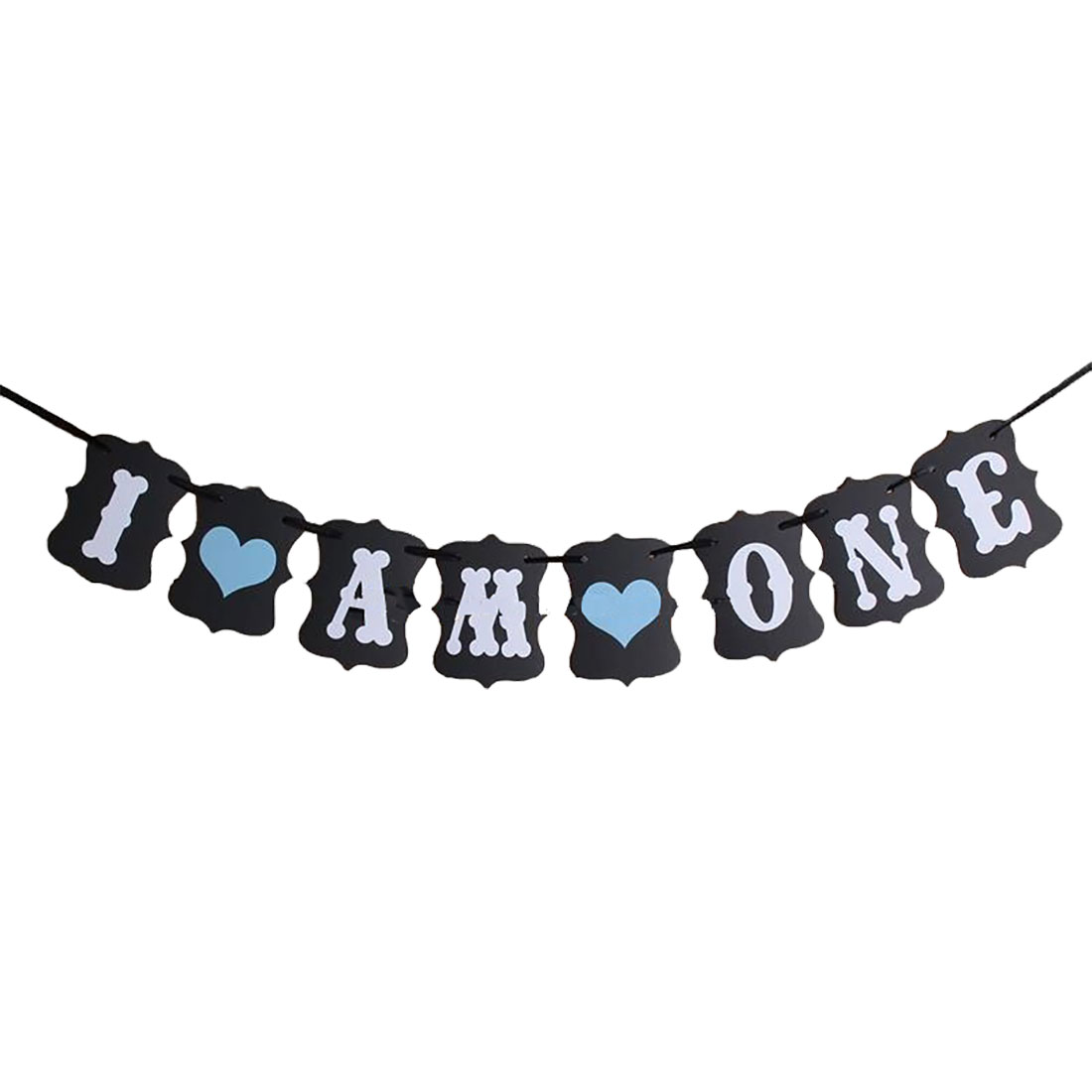 I AM ONE Letter Birthday Party Decoration Photo Prop Banner Black Set 8 in 1