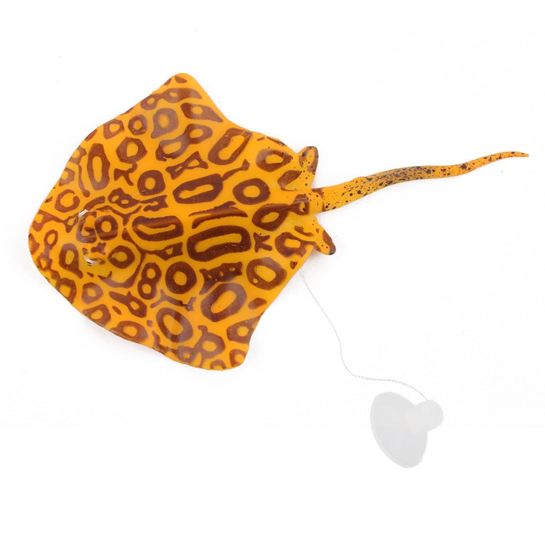 Aquarium Silicone Suction Cup Thread Vivid Aquatic Decorative Manta Ray Orange