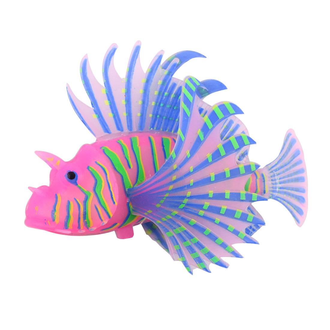 Aquarium Fish Tank Silicone Sucker Simulated Design Glowing Lifelike Lionfish