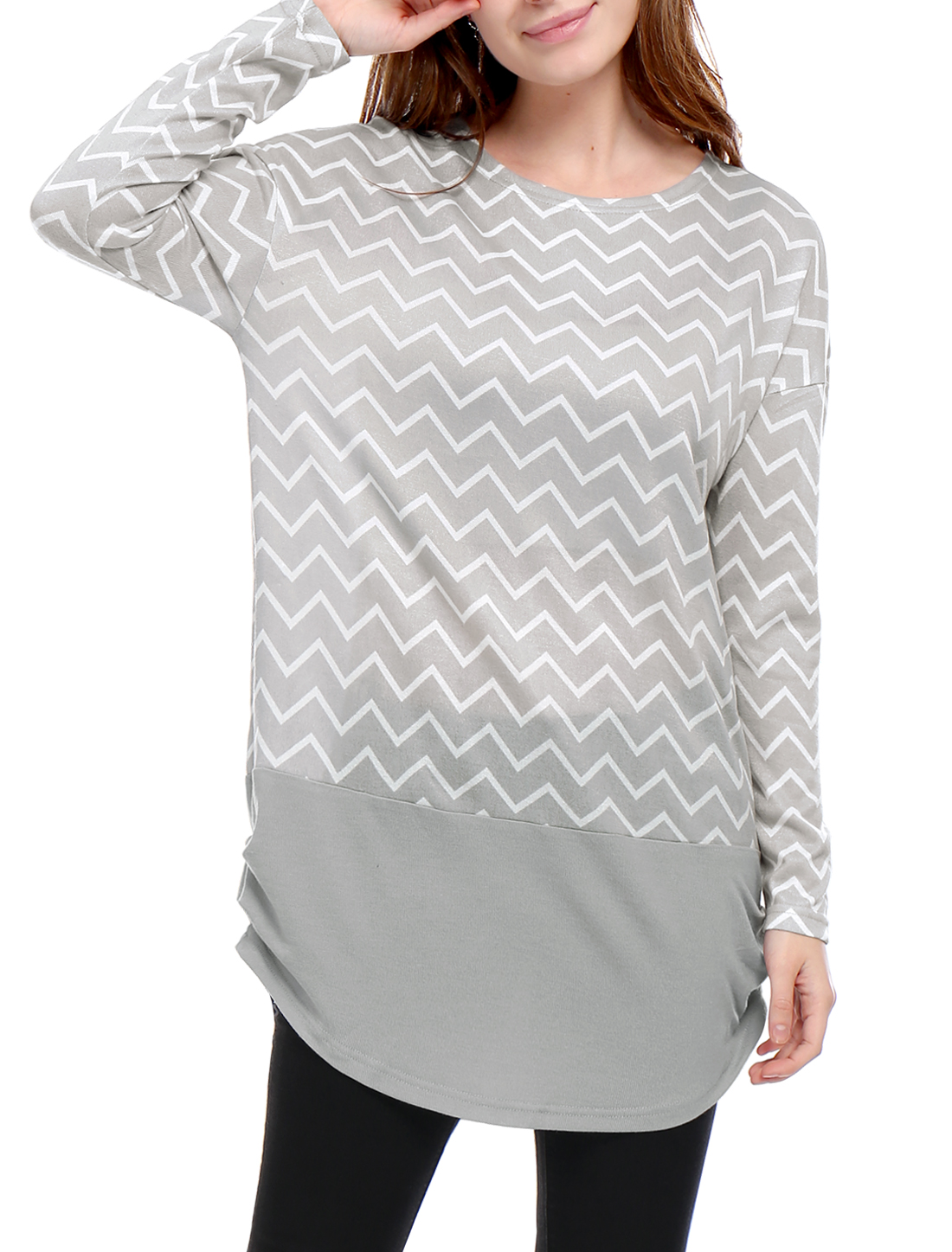 Women Long Sleeves Ruched Sides Chevron Loose Tunic Top Gray M