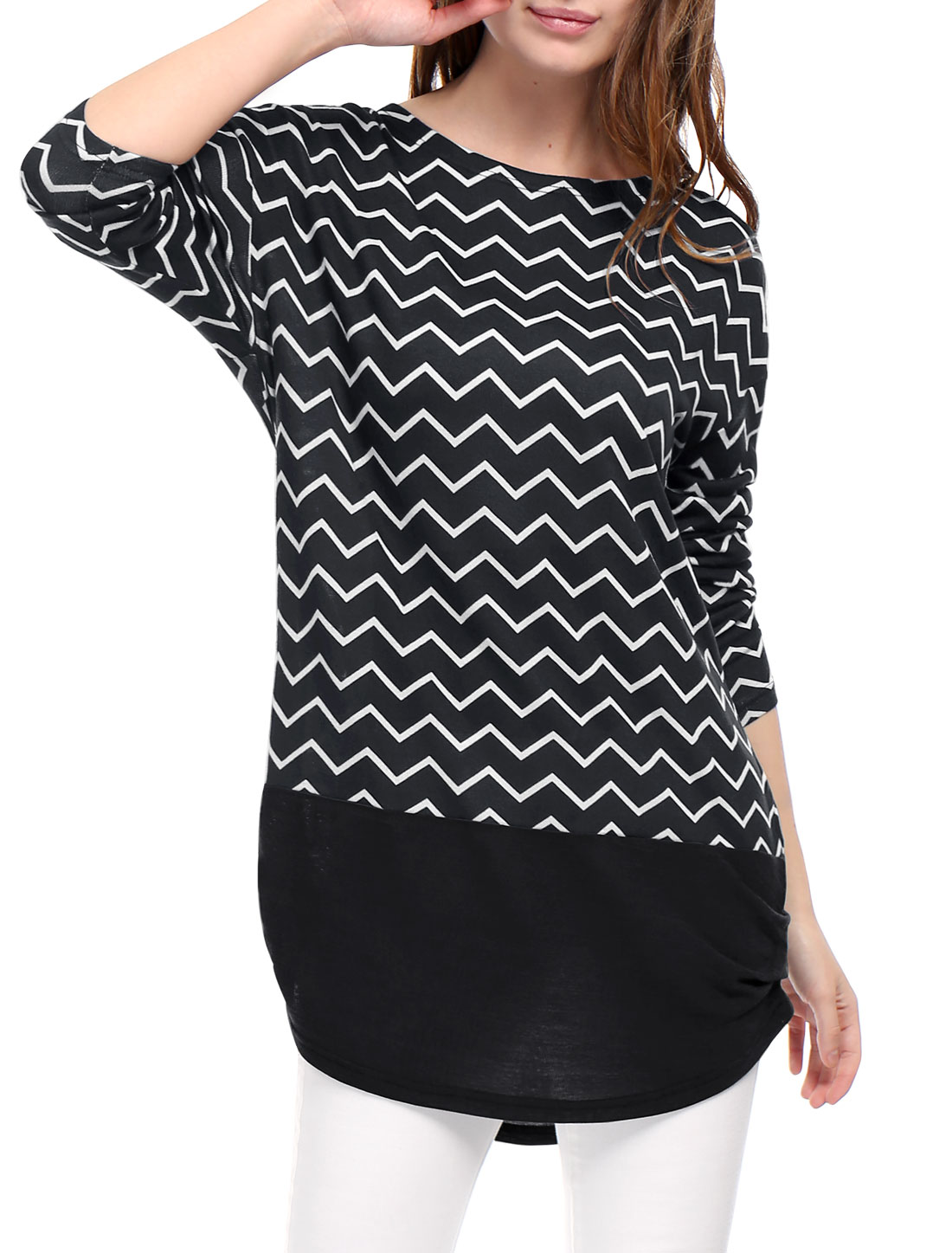 Women Long Sleeves Ruched Sides Chevron Loose Tunic Top Black L